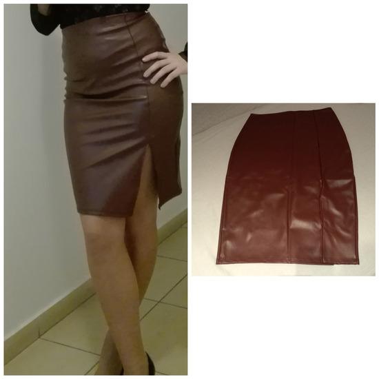 Bordo kozna suknja