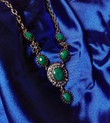 Vintage ogrlica - zlatno zelena - nova