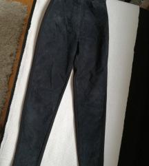 Pantalone od prirodne kože-Visoki struk