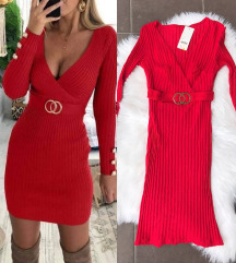 Crvena bodycon haljina sa kaisem NOVA sa et.