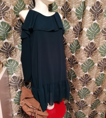 Zelena haljina otvorena ramena