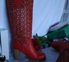 Crvene talijanske kožne čizme 38