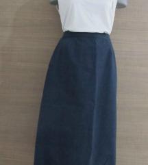 Vintage, teget, ravna suknja-dubok struk S/M