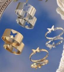 Prstenje za parove srebrno i zlatno leptir