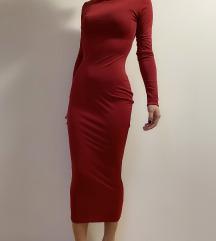 NOVA haljina bordo svila-likra