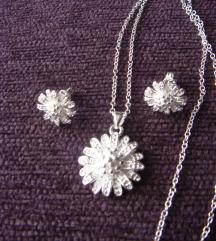 Set iz 3 dela cvet srebro 925 NOVO
