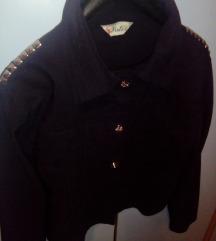 Crna prolećna jakna sa nitnama
