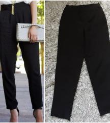 Crne poslovne pantalone visok struk sa dzepovima