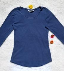 H&M plava pamucna bluza dugih rukava