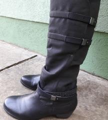 HUSH PUPPIESS USA kozne crne čizme za jaku nogu