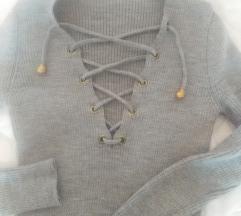 Siva haljina-tunika pertlanje
