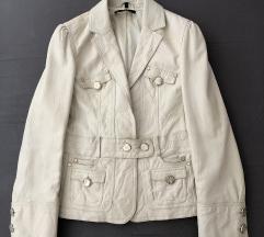 Bela kožna jakna sako