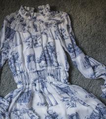 HM sifon haljina u plavom paternu, vel. 36