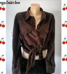 vintage braon košulja prevrnuta koža(C&A)