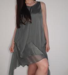 Svilena maslinasta haljina