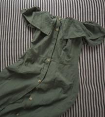 Koton zelena haljina sa spustenim ramenima