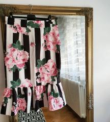Suknja sirena kroja sa cvetovima i prugama