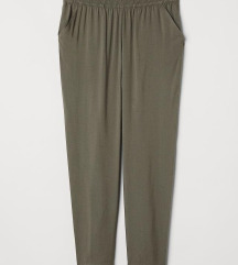 Viskozne pantalone maslinaste H&M