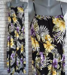 NOVA Crna cvetna haljina L/XL/XXL