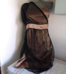 Amisu bronzana crni til haljina 38