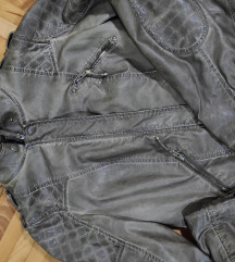 Sivomaslinasta kožna jakna