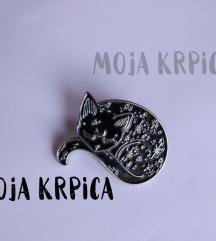 Crno srebrna macka mesec bros