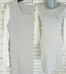 NOVA Siva haljina sa belim cipkastim rukavima S/M