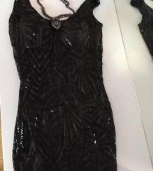 Svečana crna haljina sa šljokicama