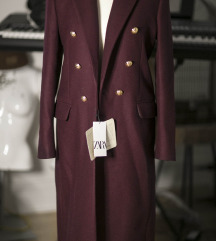 Burgundi Zara kaput od Manteco vune