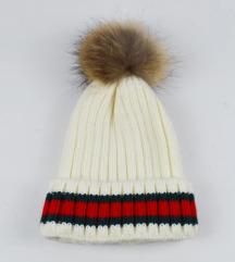 Zimska vunena kapa sa pravim krznom