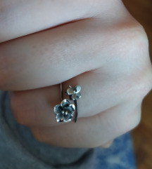 Srebrni prsten cvet leptir podesiv