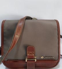 Samsonite original torba koža i platno 24x24cm