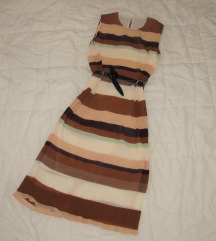 534. H&M maxi plisirana haljina na pruge