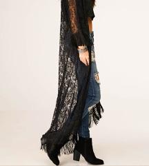Nov crni dugački kimono od čipke