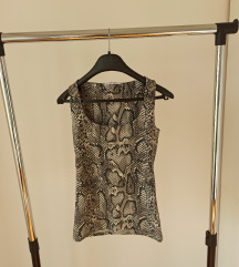 Zara basic majica bez rukava zmijskog printa
