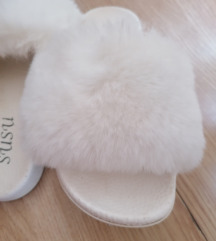 Papuče sa belim ZEČIJIM krznom