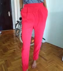 Crvene duboki struk pantalone
