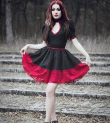 Crno Crvena gotik haljinica