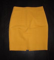 679. H&M uska pencil suknja, senf boje