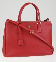 PRADA Fuoco Saffiano Lux Leather Double Zip Medium