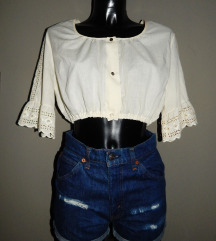 Vintage crop top sampanj boje