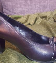 Crne kožne nove cipele, štikla 7 cm