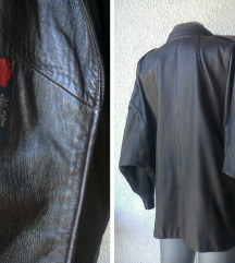 kožna braon jakna vintage br 46 MODA