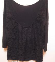 Crna bluza-majica otvorenih leđa, čipka