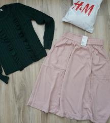 H&M roze/nude suknja ispod kolena NOVO