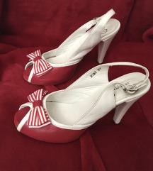 Nove crveno bele sandale, kožne, broj 37
