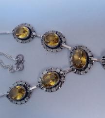 Srebrna ogrlica od kristalnog Citrina