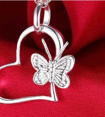 Privezak SRCE sa leptirom srebro 925