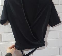 Mona crna kratka majica na vezivanje, M