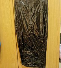 crna duboka latex midi suknja